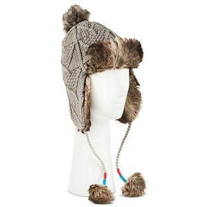 Knit Trapper Hat with Faux Fur Trim